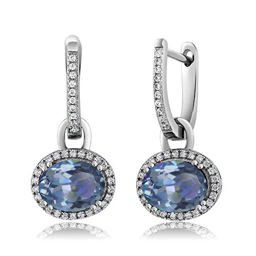 Gem Stone King Sterling Silver Stunning Oval Gemstone Birthstone Dangling Earrings