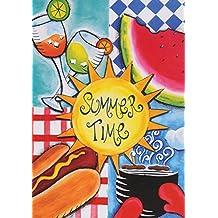 Toland Home Garden 102611 Toland-Summer Fun-Decorative Picnic BBQ Sun Outdoor Watermelon Hotdog USA-Produced House Flag