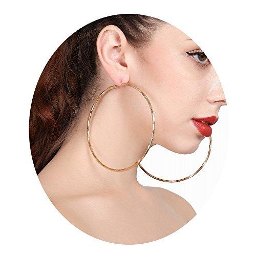 Hypoallergenic Extra Large Flattened Round Metal Hoop Earrings 2 PAIRS