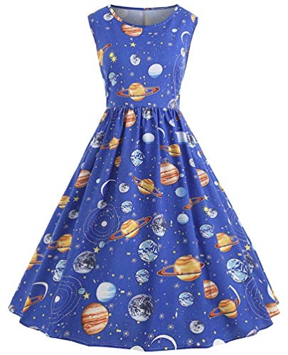 (Nicetage Women's Vintage Sleeveless Planet Printed Dress Cocktail Flared Midi Dress HS54 Blue)