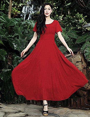 PU&PU Robe Aux femmes Trapèze / Swing Vintage , Couleur Pleine Col Arrondi Maxi Mousseline de soie , red-m , red-m