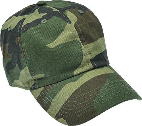 Hand By Hand Aprileo Solid Cotton Cap Washed Hat Polo Camo Baseball Ball Cap [33 Woodland Camo](One Size) ()