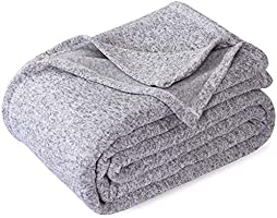 KAWAHOME Knit Blanket Lightweight Breathable Fuzzy Heather Jersey Thin Blanket for Couch Sofa Bed