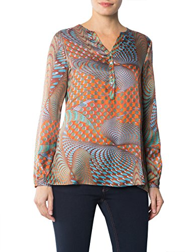 Jacques Britt Damen Bluse Seide Blusenshirt Gemustert, Größe: 36, Farbe: Multicolor