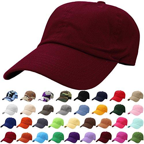 - Falari Baseball Cap Hat 100% Cotton Adjustable Size Burgundy 1828