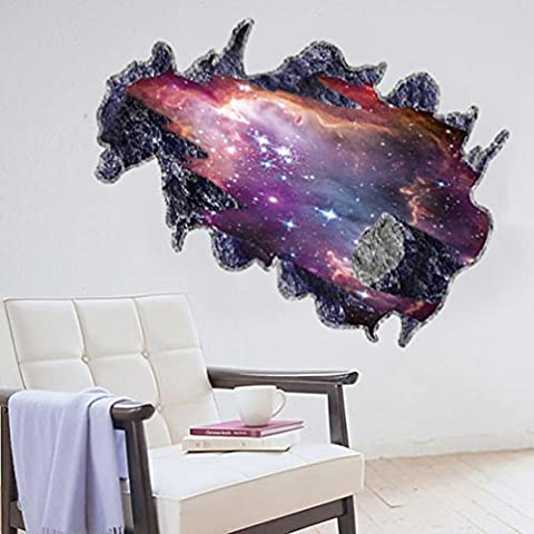 Vibola Creative Out Space Silver River meteorite 3D sticker Wall Sticker 6090CM Bedroom mural Removable Vinyl wall decals Home - Vinyl Quote Design Sticker