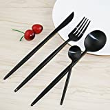 PENSINGWELL 4-Piece Black Flatware Set,Titanizing 18/10 Stainless Steel, Mirror Polished Luxury Design, Restaurant & Hotel Quality, Cutlery Service for 1 (Black)