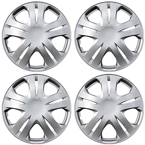 Hub-Caps for Select Honda Fit (Pack of 4) 15 Inch Silver Wheel Covers