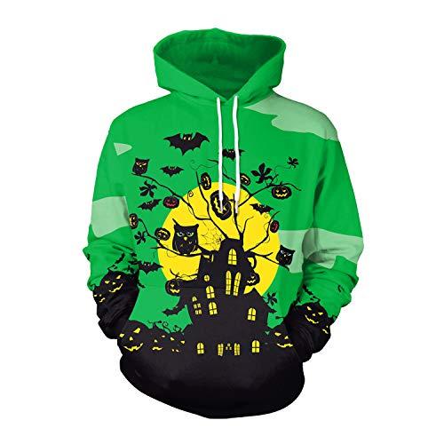 Green Kangaroo Hoody Sweatshirt - Fashspo Unisex 3D Print Casual Moon Castle Bat Pullover Hooded Hoodies Sweatshirt with Kangaroo Pocket,Green
