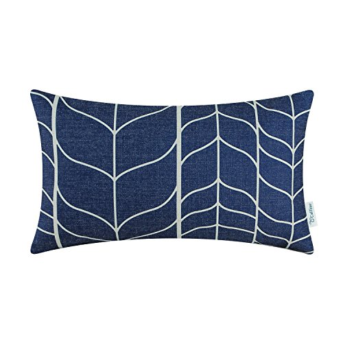 CaliTime Canvas Bolster Pillow Cover Case for Couch Sofa Home Decoration Modern Chevron Stem Panels Geometric 12 X 20 inches Navy (Lumbar Pillow Cover)