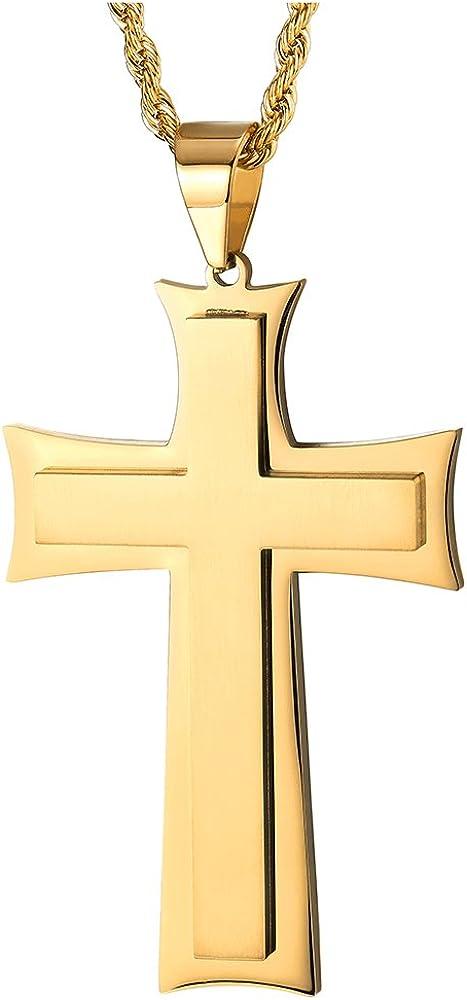 Acier Inoxydable 51CM Corde Cha/îne COOLSTEELANDBEYOND Deux Couches Petit Pendentif Croix Christ J/ésus Crucifix Collier Homme Femmes