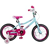 JOYSTAR 16 Inch for 4 5 6 7 Years Old Girl, Children Bicycle with Hand Brake & Training Wheels, 85% Assembled - Ice Blue