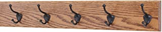 "product image for PegandRail Oak Wall Mounted Coat Rack with Bronze Hooks 4.5"" Ultra Wide (Chestnut, 25.5"" x 4.5 with 5 Hooks)"