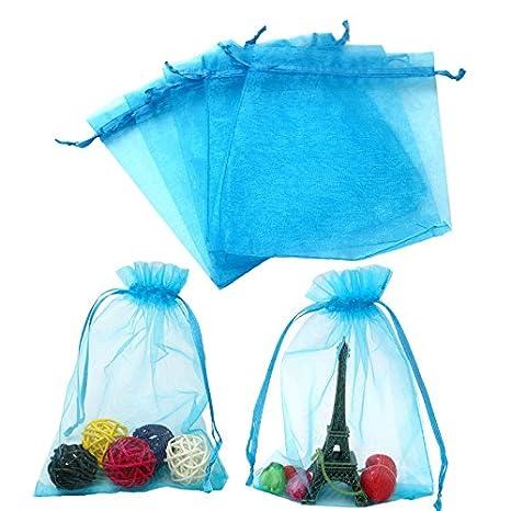100 piezas, bolsas de organza extra grande 13 X 18 cm, bolsas de regalo de organza con cordón para joyas, bolsas de regalo, bolsas de dulces