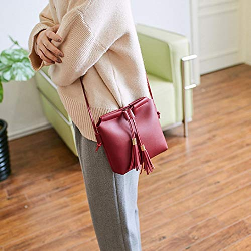 Messenger Bag Bafaretk Solid Tassel Drawstring Bag Bag Womens Fashion Crossbody Shoulder RED PINK xzUw81