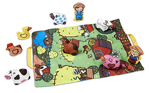 Melissa & Doug Take-Along Farm Baby and Toddler Play Mat (19.25 x 14.5 inches) With 9 Animals - Folds To Be Convenient Storage Bag for (Doug Farm Animals)