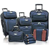 Traveler's Choice Travel Select Amsterdam 8 Piece Luggage Set (Navy/Black), Bags Central
