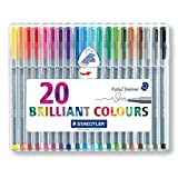 Staedtler 334 Triplus Fineliner Superfine Point Pens, 0.3 mm, Assorted Colours, Pack of 20