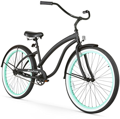 Firmstrong Bella Fashionista Single Speed Beach Cruiser Bicycle, 26-Inch, Matte Black w/ Green Rims Ladies Beach Cruiser Bike