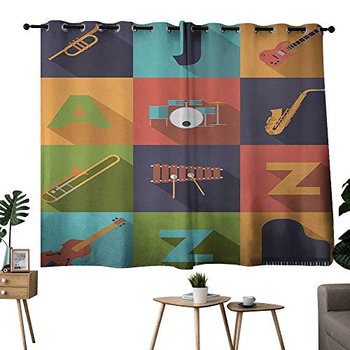 NUOMANAN Pattern Curtains Music,Colorful All Jazz Equipment Set on Flat Design Funky Music Symbols Graphic Decoration,Multicolor,Light Blocking Drapes with Liner 42