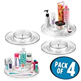 mDesign Spinning Two Tier Lazy Susan Turntable Storage Bin – Rotating Organizer for Blush, Eyeshadow, Mascara, Eyeliner, Nail Polish – 11'' Diameter, Pack of 4, Clear