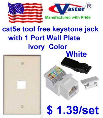 Vastercable, Cat5e Tool Less RJ45 Keystone Jack, WHITE, WITH 1 Port RJ 45 Keystone Wall Plate, Ivory