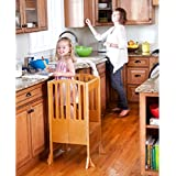 Guidecraft Contemporary Kitchen Helper - Honey: Adjustable Height Cooking Learning Step Stool For Kids, Children Safety Tower