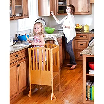 Guidecraft Contemporary Kitchen Helper   Honey: Adjustable Height, Folding  Counter Step Stool For Kids