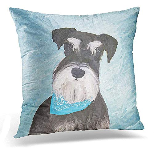 (Throw Pillow Cover Black Standard Schnauzer Miniature Painting Cute Dog Silver Decorative Pillow Case Home Decor Square 18x18 Inches Pillowcase)