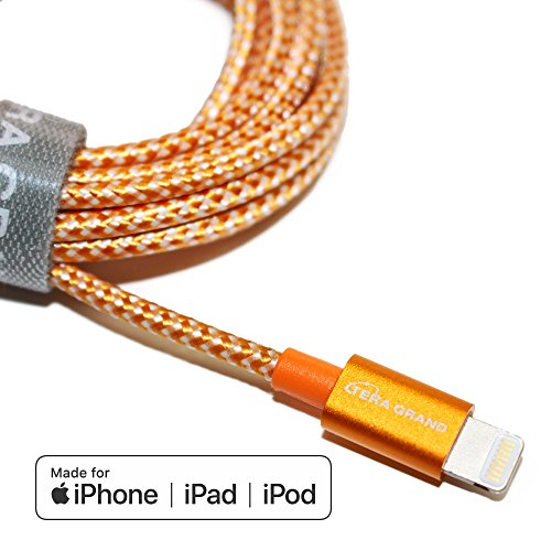 Tera Grand - Apple MFi Certified - Lightning to USB Braided Cable with Aluminum Housing, 7 Feet Orange/White for iPhone XS XS Max XR X 8 8 Plus 7 7 Plus iPad Pro Air Mini iPod