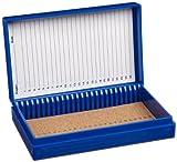 "Heathrow Scientific HD15989A Blue Cork Lined 25 Place Microscope Slide Box, 5.5"" Length x 3.5"" Width x 1.24"" Height"
