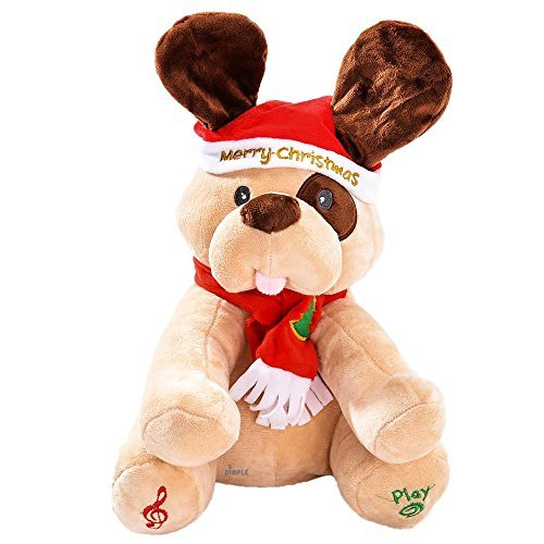 (Dimple Animated Plush Singing Peek-a-Boo & Waving Ears Dog Holiday Toy in Christmas Theme for Kids)