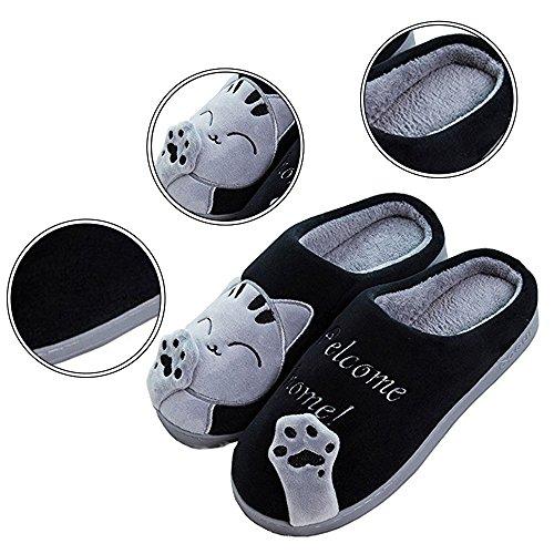 Chaudes Peluche JACKSHIBO Chaussons Hiver Pantoufles Doux Fille Noir Coton Femmes Chat Confortable Lovely Slipper w00A1Yx4