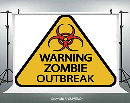 Photography Background Warning Zombie Outbreak Sign Cemetery Infection Halloween Graphic Decorative 3D Backdrops for Photography Backdrop Photo Background Studio Prop -