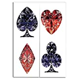 Door Curtain(Two Panels) Drawings Printing,Diamond Decor,Diamond Shaped Cards Poker Face Fortune Symbols Sapphire Dijital Prints,Dark Blue Red,Well Designed for You,W29.5 xH47.2