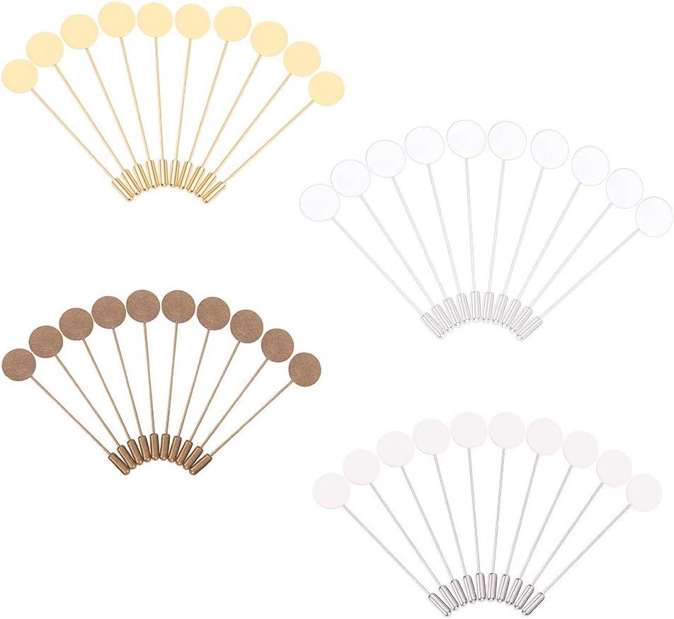 PandaHall 40 Pezzi 4 Colori 15mm Spilla in Ottone Piatto Tondo Vuoto Vassoio Spille di Sicurezza Spille per Uomo Donna Vestito Cravatta Cappello Sciarpa Distintivo