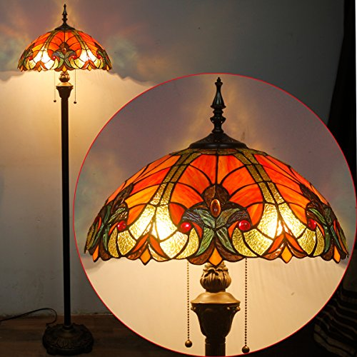 Tiffany Style Floor Standing Lamp 64 Inch Tall Red Liaison Stained Glass Shade 2 Light Antique Base for Bedroom Living Room Reading Lighting Coffee Table Set S160R WERFACTORY by WERFACTORY (Image #7)