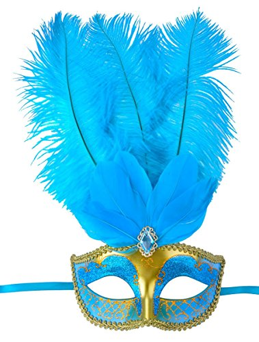 [Masquerade Mask Fancy Feather Party Mask Halloween Costumes] (Blue Mardi Gras Mask)