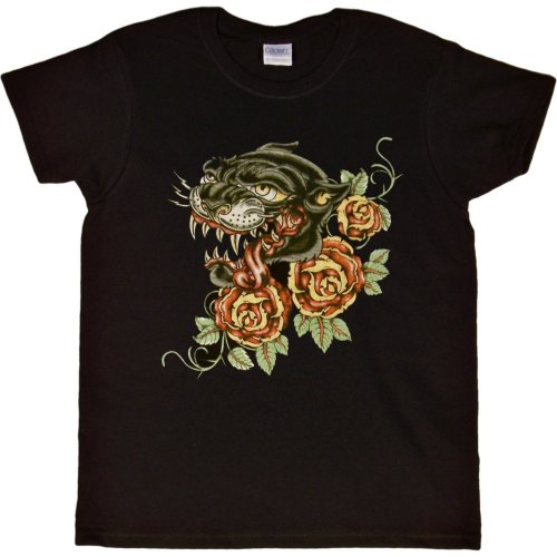 WOMENS T-SHIRT : PINK - XX-LARGE - Black Panther and Roses - Vintage Tattoo