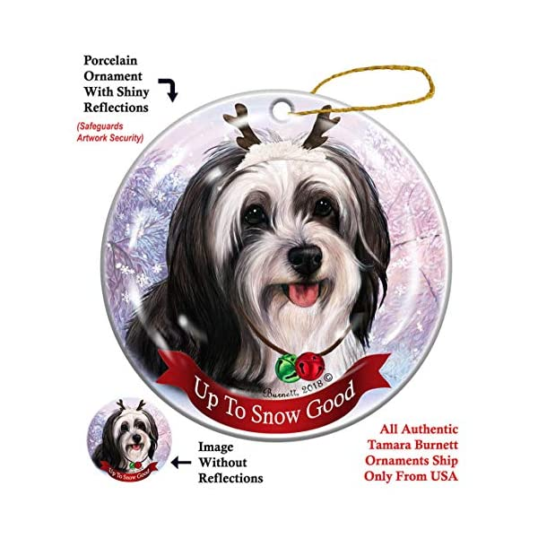 Holiday Pet Gifts Tibetan Terrier Black/White Dog Porcelain Christmas Ornament 1