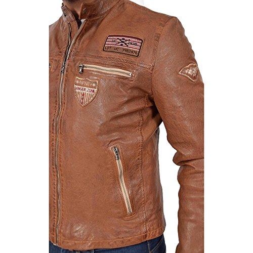 Badges Victor Cognac Racing cuero para Escudo Abrigo hombres de Cazadora Fit Slim de v7xwqBxzt1