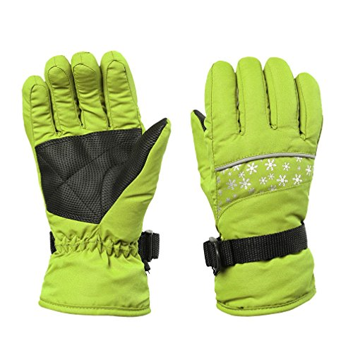 FISOUL Kids Winter Snow Ski Gloves Waterpoof Children Snowboard Gloves with Adjustable Wrist Strap (S, Fruit green)
