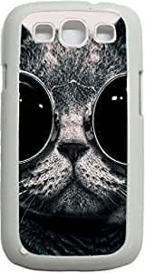 Grey Cat With Black Glasses- Case for the Samsung Galaxy S3 i9300 -Soft White Rubber Case with a Swinging Open-Close Flap that Covers the screen