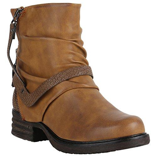 Stiefelparadies Damen Stiefeletten Metallic Biker Boots Leicht Gefütterte  Stiefel Block Absatz Booties Schnallen Schuhe Damenschuhe Flandell ba46f11491