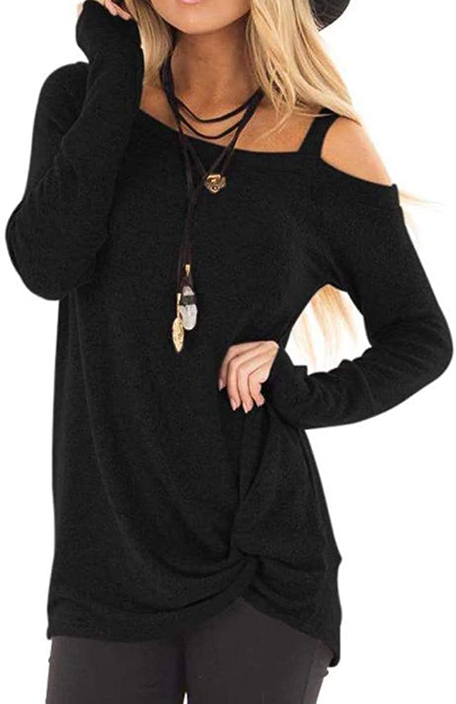 Womens Long Sleeves Cold Shoulder Tops Casual Solid O Neck Knot Side Twist Blouse Top T-Shirt