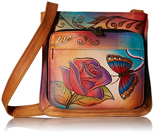 Anuschka Handpainted Leather 7011-RB Slim Shoulder Organizer, Rose Butterfly, One - Rb 2016