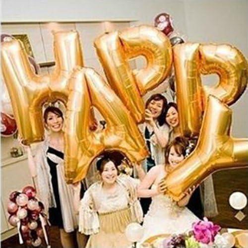 【la select】ジャンボ文字 『LOVE』『HAPPY』巨大 アルファベット 風船 バルーン (ハンドポンプ・貼付シール) [ゴールド] (『HAPPY』)