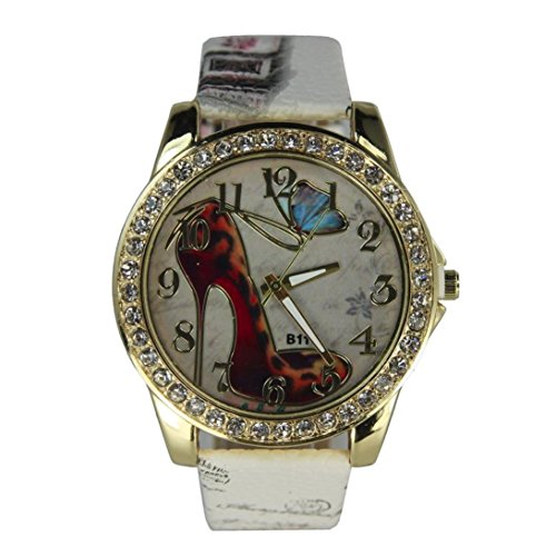 Inkach® Women Fashion High Heels Pattern Rhinestone Leather Band Analog Quartz Vogue Watches (White)