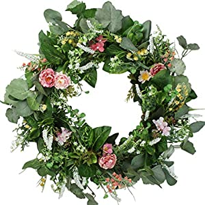 Delicaft Peony Flowers Silk Front Door Artificial Wreath 16 Inch -Handcrafted on a Grapevine Wreath Base- Display in Spring, Easter, and Summer 14