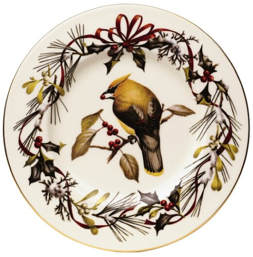 Lenox Winter Greetings Gold Banded Ivory China Cedar Waxwing 9 Accent Plate